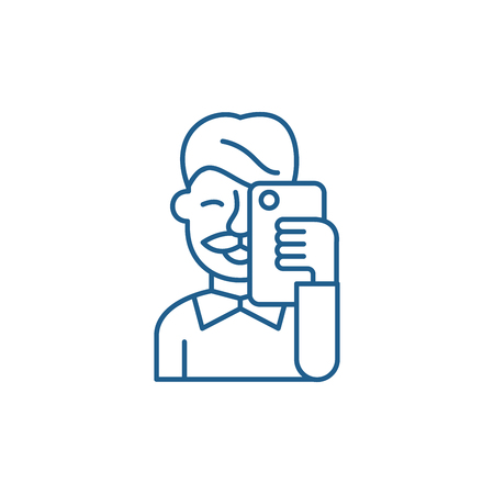 Selfies line concept icon. Selfies flat vector website sign, outline symbol, illustration.