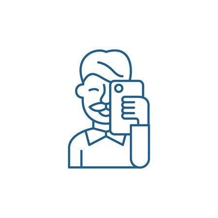 Selfies Symbol Leitung Konzept. Selfies flaches Vektor-Website-Zeichen, Umrisssymbol, Illustration.
