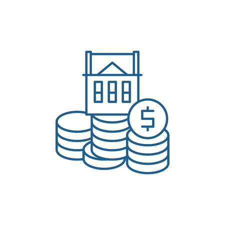 Selling a house line concept icon. Selling a house flat  vector website sign, outline symbol, illustration.