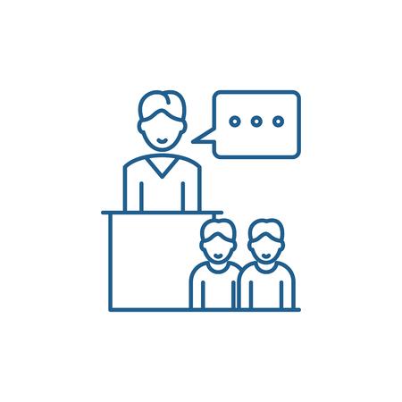 Seminar line concept icon. Seminar flat  vector website sign, outline symbol, illustration.
