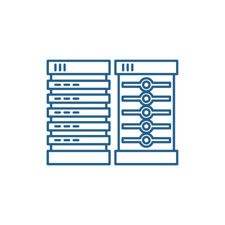Servers line concept icon. Servers flat  vector website sign, outline symbol, illustration.  イラスト・ベクター素材