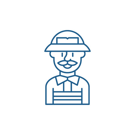 Service engineer line concept icon. Service engineer flat  vector website sign, outline symbol, illustration.