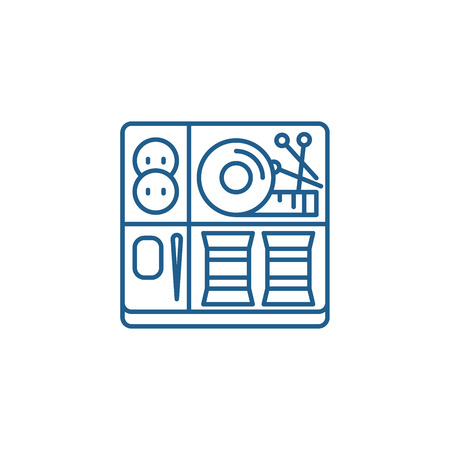 Sewing kit line concept icon. Sewing kit flat  vector website sign, outline symbol, illustration. 일러스트