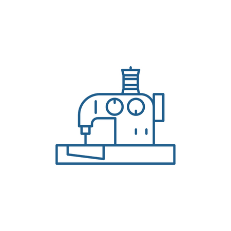 Sewing machine line concept icon. Sewing machine flat  vector website sign, outline symbol, illustration.  イラスト・ベクター素材