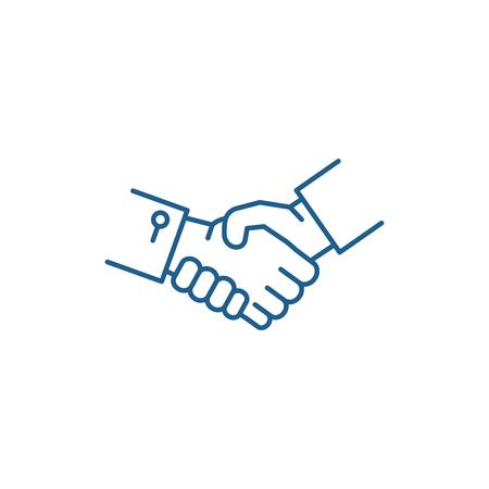 Ikona koncepcja linii uścisk dłoni. Uścisk dłoni płaski wektor stronie znak, symbol konspektu, ilustracja. Ilustracje wektorowe