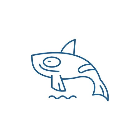 Shark killer whale line concept icon. Shark killer whale flat  vector website sign, outline symbol, illustration.