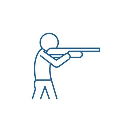 Shooting a gun line concept icon. Shooting a gun flat  vector website sign, outline symbol, illustration.