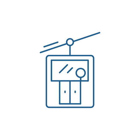 Ski elevator line concept icon. Ski elevator flat  vector website sign, outline symbol, illustration.  イラスト・ベクター素材