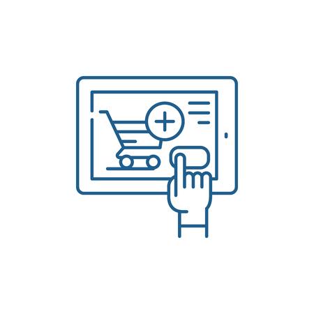 Shop online line concept icon. Shop online flat  vector website sign, outline symbol, illustration.