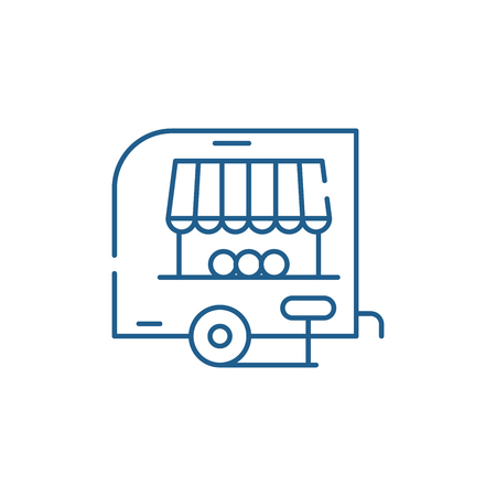 Shop pickup line concept icon. Shop pickup flat  vector website sign, outline symbol, illustration. Foto de archivo - 120116960