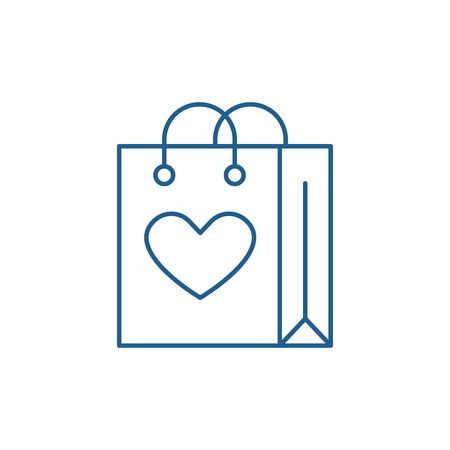 Shopaholic line concept icon. Shopaholic flat  vector website sign, outline symbol, illustration.  イラスト・ベクター素材