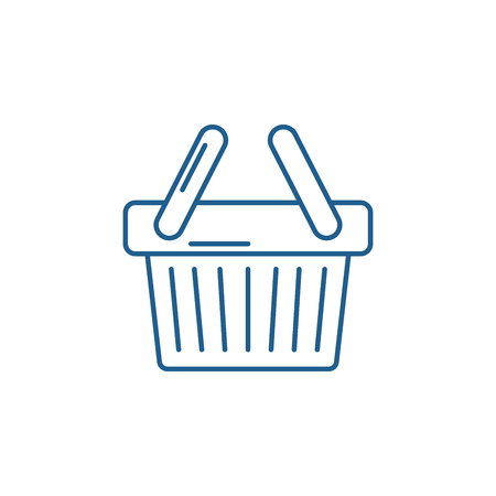 Shopping cart line concept icon. Shopping cart flat  vector website sign, outline symbol, illustration.