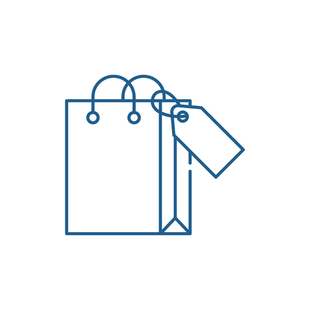 Shopping package line concept icon. Shopping package flat  vector website sign, outline symbol, illustration. Illustration