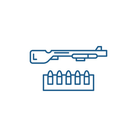 Shotgun and ammo line concept icon. Shotgun and ammo flat  vector website sign, outline symbol, illustration. Çizim