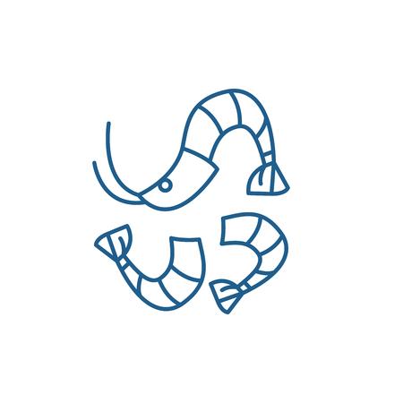 Shrimp line concept icon. Shrimp flat  vector website sign, outline symbol, illustration.