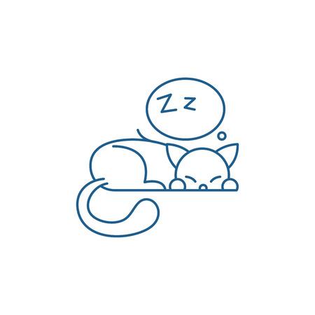 Sleeping cat line concept icon. Sleeping cat flat  vector website sign, outline symbol, illustration. Stock Illustratie