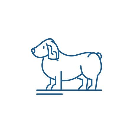 Spaniel line concept icon. Spaniel flat  vector website sign, outline symbol, illustration. Иллюстрация
