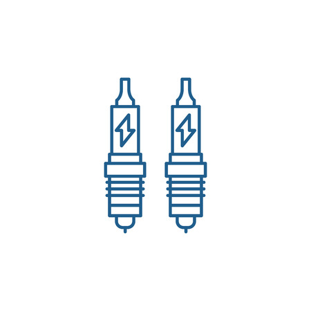Spark plug line concept icon. Spark plug flat  vector website sign, outline symbol, illustration.  イラスト・ベクター素材