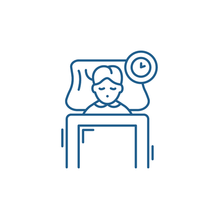Sleep line concept icon. Sleep flat  vector website sign, outline symbol, illustration.