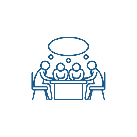 Small business meeting line concept icon. Small business meeting flat  vector website sign, outline symbol, illustration.