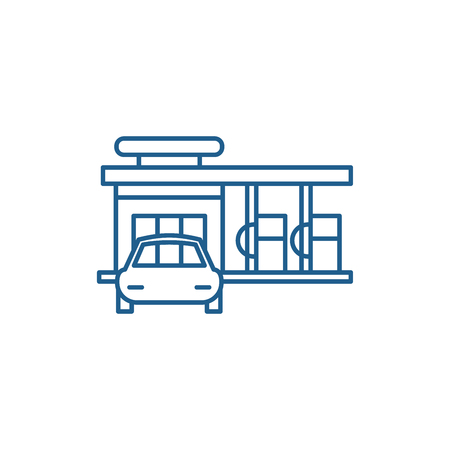 Small gas station line concept icon. Small gas station flat  vector website sign, outline symbol, illustration. Archivio Fotografico - 120115428