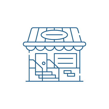 Small shop line concept icon. Small shop flat  vector website sign, outline symbol, illustration. Stok Fotoğraf - 120115429