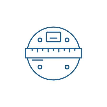 Smart scales line concept icon. Smart scales flat  vector website sign, outline symbol, illustration.