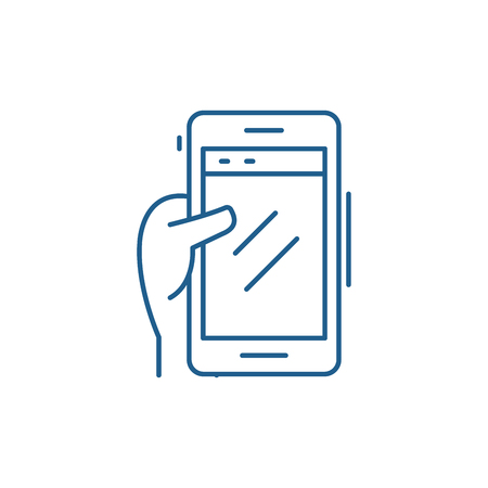 Smartphone in hand line concept icon. Smartphone in hand flat  vector website sign, outline symbol, illustration.