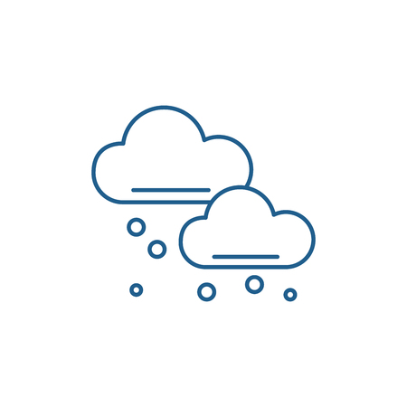 Snow clouds line concept icon. Snow clouds flat  vector website sign, outline symbol, illustration.