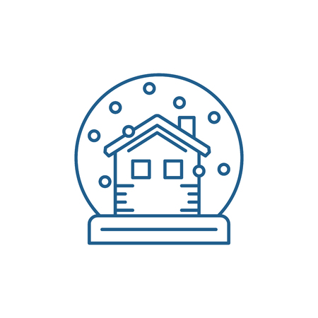 Snow globe with house line concept icon. Snow globe with house flat  vector website sign, outline symbol, illustration. Stock Vector - 120116983