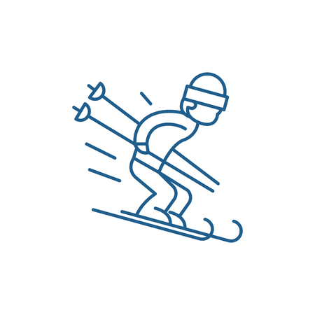 Snow skiing line concept icon. Snow skiing flat  vector website sign, outline symbol, illustration.