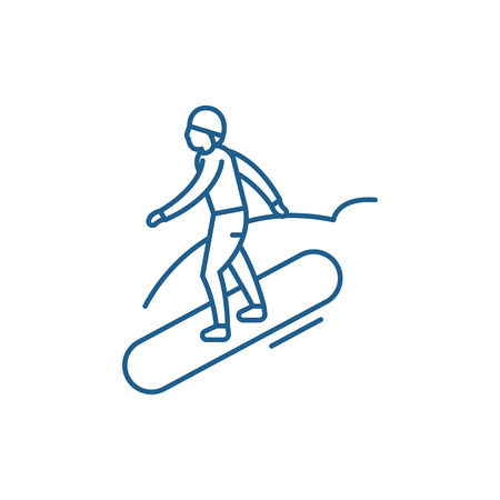 Snowboard line concept icon. Snowboard flat  vector website sign, outline symbol, illustration.