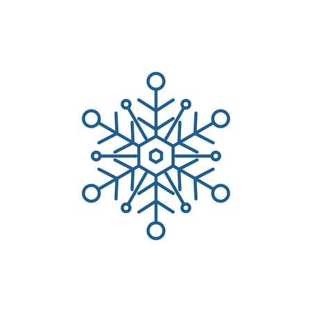 Snowflake line concept icon. Snowflake flat  vector website sign, outline symbol, illustration.