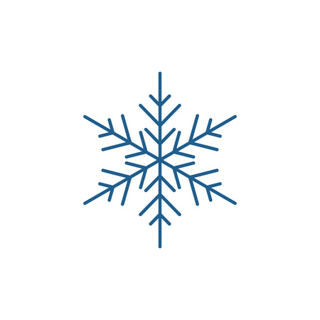 Snowflake decor line concept icon. Snowflake decor flat  vector website sign, outline symbol, illustration.