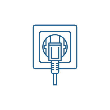 Socket line concept icon. Socket flat  vector website sign, outline symbol, illustration. Ilustrace