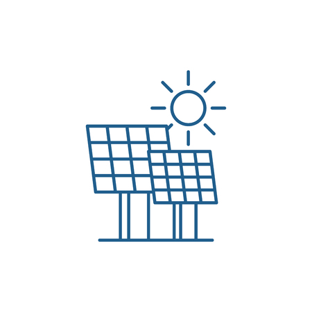 Solar power line concept icon. Solar power flat  vector website sign, outline symbol, illustration.