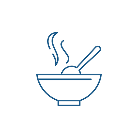 Soup line concept icon. Soup flat  vector website sign, outline symbol, illustration. Standard-Bild - 120117041