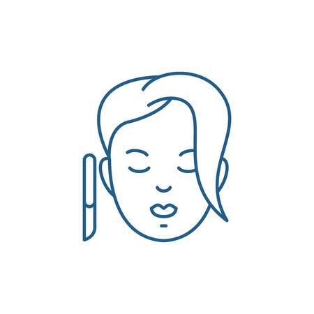 Spa treatments line concept icon. Spa treatments flat  vector website sign, outline symbol, illustration. Ilustracja