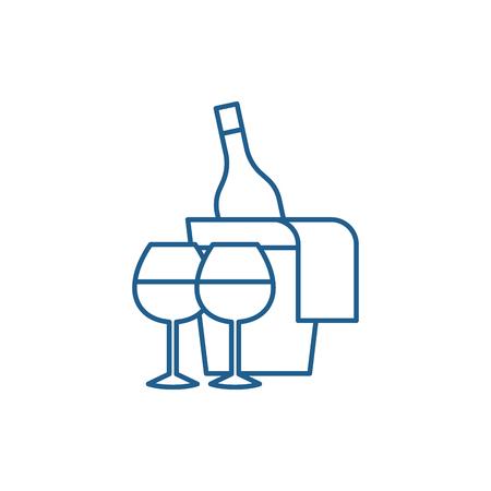 Sparkling wine line concept icon. Sparkling wine flat  vector website sign, outline symbol, illustration.