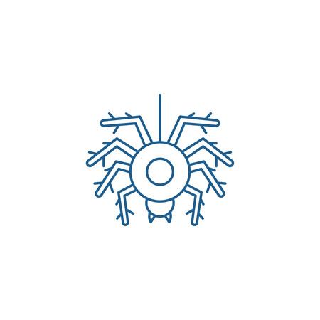 Spider line concept icon. Spider flat  vector website sign, outline symbol, illustration.