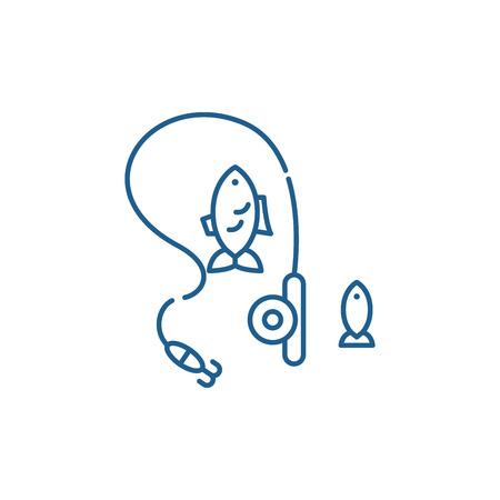 Sport fishing line concept icon. Sport fishing flat  vector website sign, outline symbol, illustration.