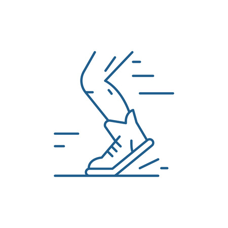 Sport running line concept icon. Sport running flat  vector website sign, outline symbol, illustration. Çizim