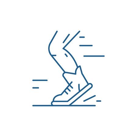 Sport running line concept icon. Sport running flat  vector website sign, outline symbol, illustration. Illustration