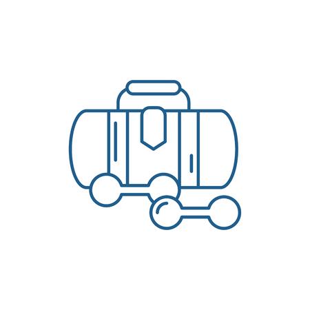 Sports bag line concept icon. Sports bag flat  vector website sign, outline symbol, illustration. Illusztráció