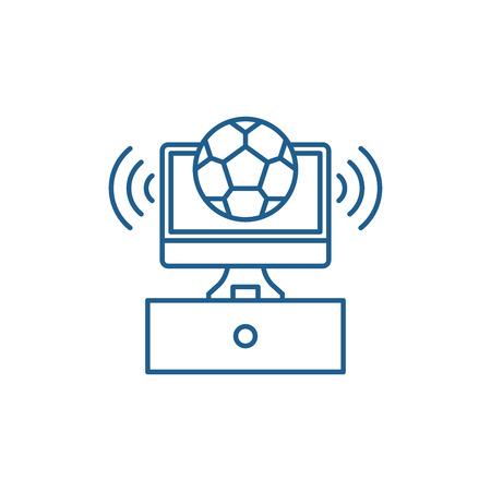 Sports broadcast line concept icon. Sports broadcast flat  vector website sign, outline symbol, illustration. Stock Vector - 120117180