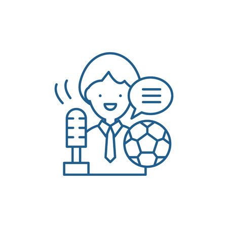 Sports commentator line concept icon. Sports commentator flat  vector website sign, outline symbol, illustration. Illustration