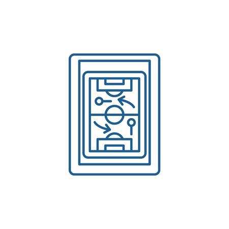 Sports tactics line concept icon. Sports tactics flat  vector website sign, outline symbol, illustration.