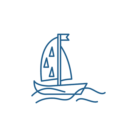 Sports yacht line concept icon. Sports yacht flat  vector website sign, outline symbol, illustration.