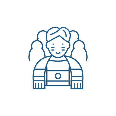 Sportsman line concept icon. Sportsman flat  vector website sign, outline symbol, illustration.  イラスト・ベクター素材