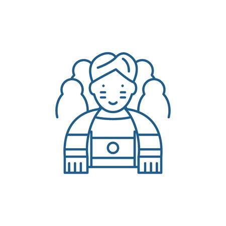 Sportsman line concept icon. Sportsman flat  vector website sign, outline symbol, illustration. Illustration